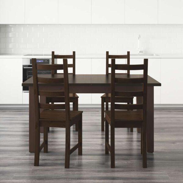 СТУРНЭС / КАУСТБИ Стол и 4 стула коричнево-чёрный 147 см - Артикул: 192.298.04