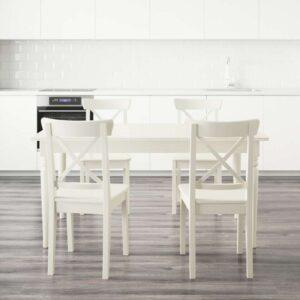 ИНГАТОРП / ИНГОЛЬФ Стол и 4 стула белый 155 см - Артикул: 292.298.46