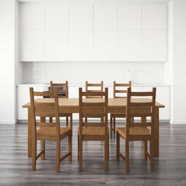 СТУРНЭС / КАУСТБИ Стол и 6 стульев морилка,антик 201 см - Артикул: 792.296.98