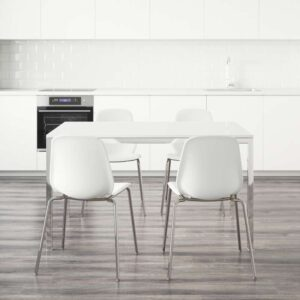 ТОРСБИ / ЛЕЙФ-АРНЕ Стол и 4 стула глянцевый белый/белый 135 см - Артикул: 092.297.86