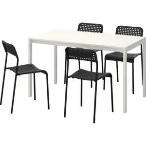 МЕЛЬТОРП / АДДЕ Стол и 4 стула белый/черный 125 см - Артикул: 192.299.22