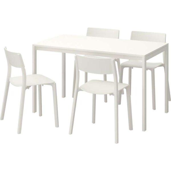 МЕЛЬТОРП / ЯН-ИНГЕ Стол и 4 стула белый/белый 125 см - Артикул: 992.299.23