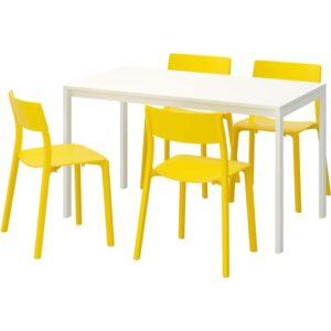 МЕЛЬТОРП / ЯН-ИНГЕ Стол и 4 стула белый/желтый 125 см - Артикул: 792.299.24