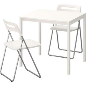 МЕЛЬТОРП / НИССЕ Стол и 2 складных стула белый/белый 75 см - Артикул: 692.297.45