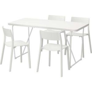 РЮДЕБЭКК/БЭККАРИД / ЯН-ИНГЕ Стол и 4 стула белый/белый 150 см - Артикул: 992.298.24