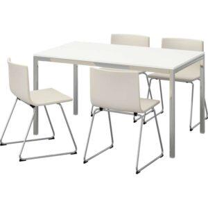 ТОРСБИ / БЕРНГАРД Стол и 4 стула глянцевый белый/Кават белый 135 см - Артикул: 792.297.83