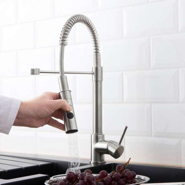ВИММЕРН Смеситель кухонный с душем цвет нержавеющей стали - Артикул: 003.556.80