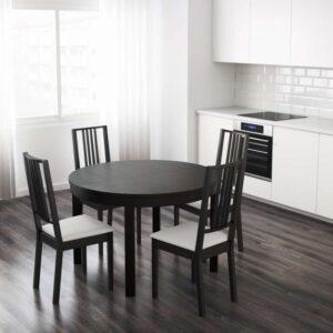 БЬЮРСТА Раздвижной стол коричнево-чёрный 115/166 см - Артикул: 403.588.27