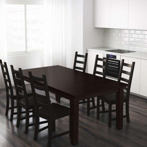 СТУРНЭС Раздвижной стол коричнево-чёрный 201/247/293x105 см - Артикул: 803.714.12