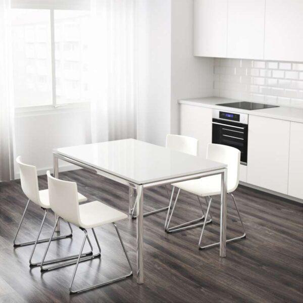 ТОРСБИ Стол хромированный/глянцевый белый 135x85 см - Артикул: 692.271.76