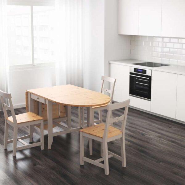 ГЭМЛЕБИ Стол складной светлая морилка антик/серый 67/134/201x78 см - Артикул: 403.588.89