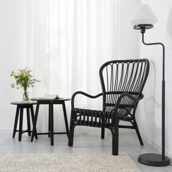СТУРСЕЛЕ Кресло c высокой спинкой черный/ротанг - Артикул: 703.841.94