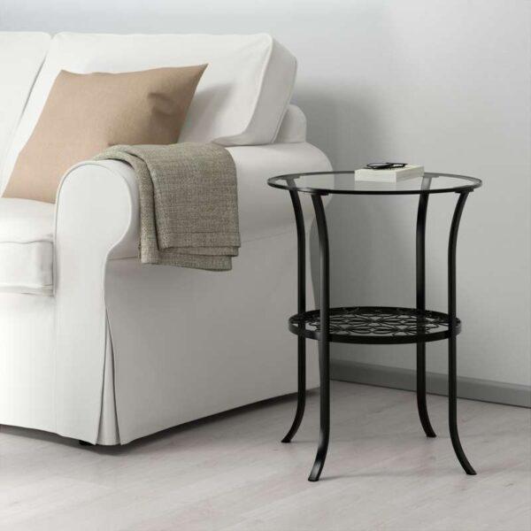 КЛИНГСБУ Придиванный столик черный/прозрачное стекло 49x60 см - Артикул: 303.841.67
