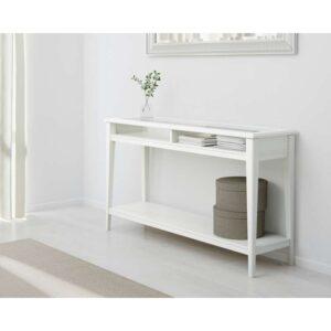 ЛИАТОРП Консольный стол белый/стекло 133x37 см - Артикул: 603.832.51