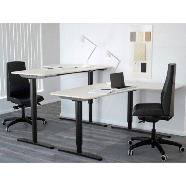 БЕКАНТ Углов письм стол прав/трансф белый/черный 160x110 см - Артикул: 192.786.58