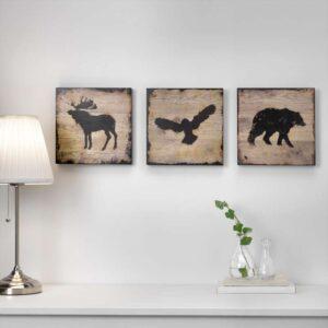 БЬЁРНАМО Картина, 3 шт животные 25x25 см - Артикул: 603.813.65
