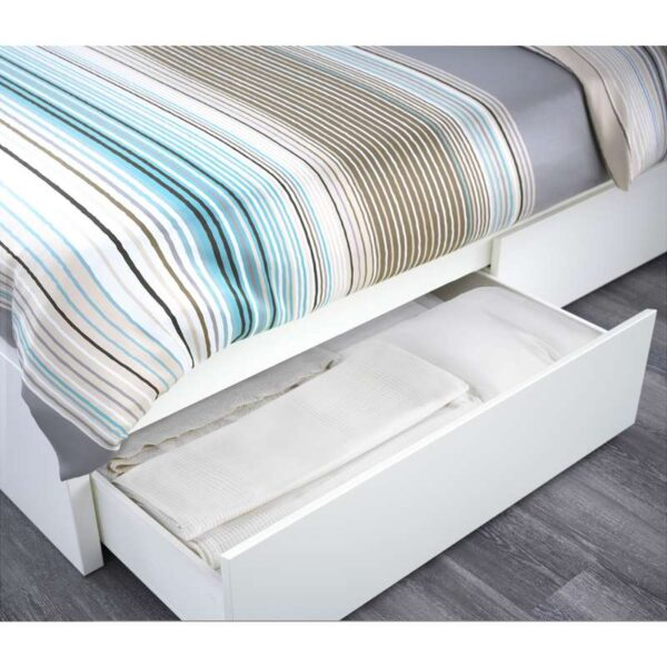 МАЛЬМ Каркас кровати+2 кроватных ящика, белый + ламели Леирсунд, 160x200 см. Артикул: 192.110.12