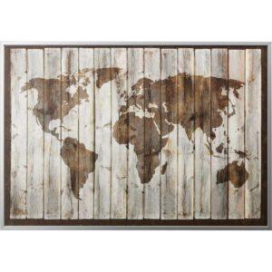 БЬЁРКСТА Картина с рамой карта мира/цвет алюминия 200x140 см - Артикул: 192.072.70