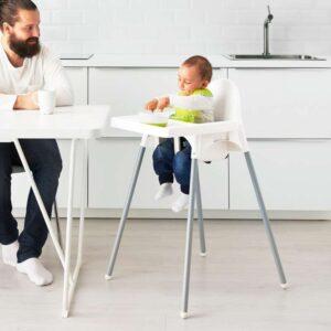 АНТИЛОП Высокий стульчик со столешн белый серебристый/серебристый - Артикул: 992.193.68