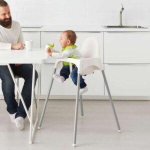 АНТИЛОП Высок стульчик с ремн безопасн белый/серебристый - Артикул: 192.193.67