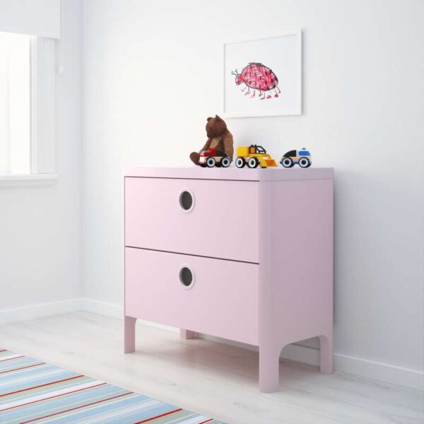 БУСУНГЕ Комод с 2 ящиками светло-розовый 80x75 см - Артикул: 803.658.78