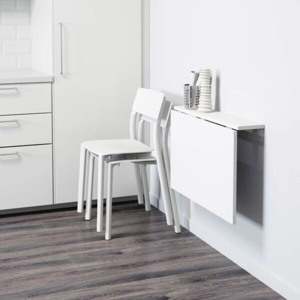 НОРБЕРГ Стол откидной стенного крепежа белый 74x60 см - Артикул: 703.617.10