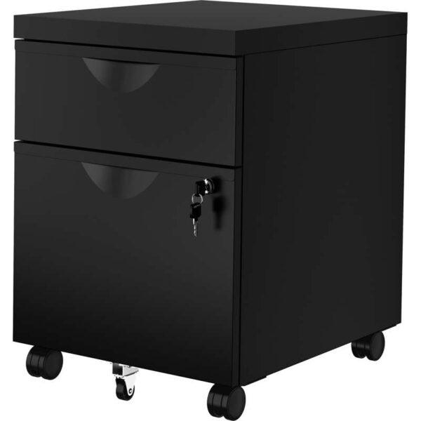 ЭРИК Тумба на колесиках с 2 ящиками черный 41x57 см - Артикул: 003.599.23