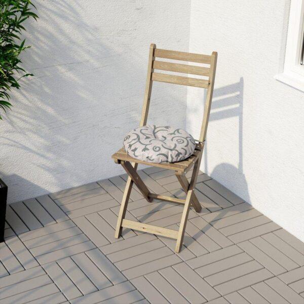 АСКХОЛЬМЕН Садовый стул складной светло-коричневый серо-коричневая морилка - Артикул: 103.757.05