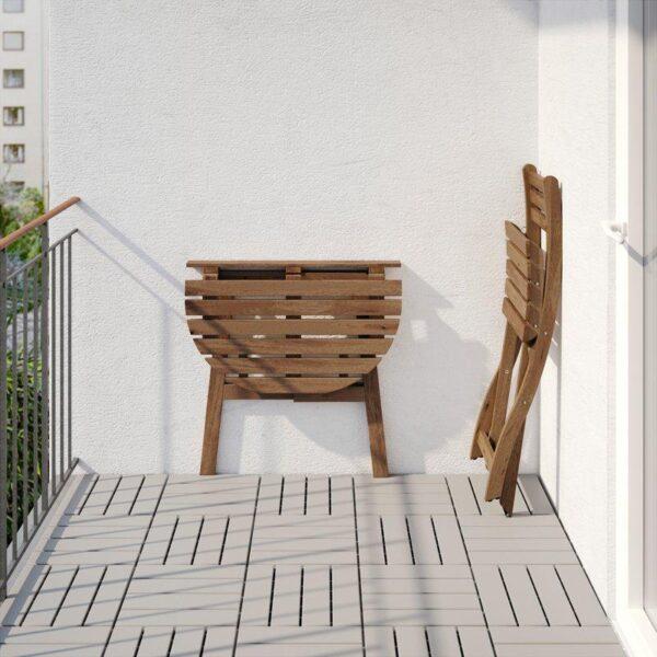 АСКХОЛЬМЕН Стол+1 складной стул д/сада серо-коричневая морилка/ФРЁСЁН/ДУВХОЛЬМЕН бежевый - Артикул: 492.689.50