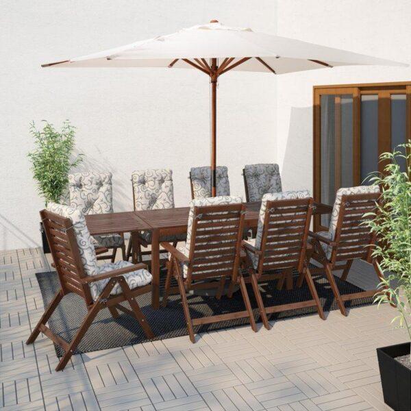 ЭПЛАРО Стол с откидными полами, садовый коричневая морилка 140/200/260x78 см - Артикул: 203.763.37
