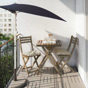 АСКХОЛЬМЕН Садовый стол складной серо-коричневая морилка 60x62 см - Артикул: 103.757.10