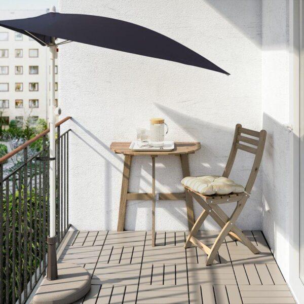 АСКХОЛЬМЕН Пристенный стол, садовый складной серо-коричневая морилка 70x44 см - Артикул: 703.757.07