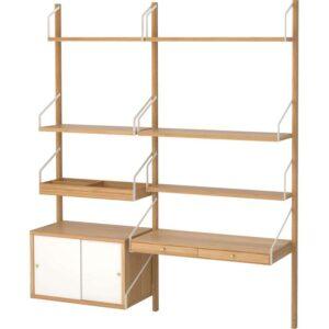 СВАЛЬНЭС Рабочее место – комбинация бамбук/белый 150x35x176 см - Артикул: 092.051.20