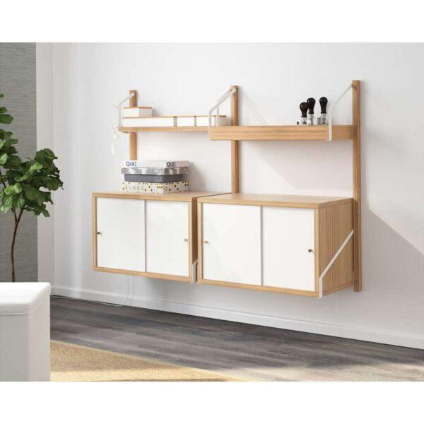 СВАЛЬНЭС Комбинация д/хранения бамбук/белый 130x35x93 см - Артикул: 192.051.72