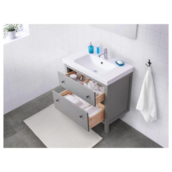ХЕМНЭС Шкаф для раковины с 2 ящ, серый 80x47x83 см - Артикул: 804.412.12