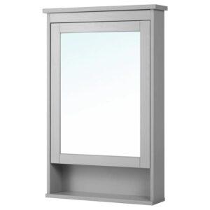 ХЕМНЭС Зеркальный шкаф с 1 дверцей, серый 63x16x98 см - Артикул: 804.412.07