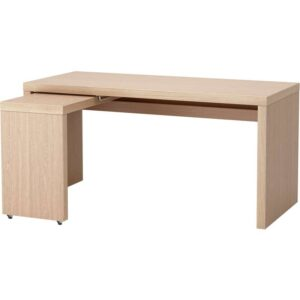 МАЛЬМ Письменный стол с выдвижной панелью дубовый шпон, беленый 151x65 см - Артикул: 303.599.74