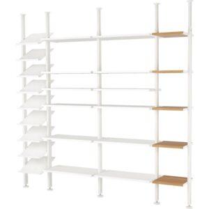 ЭЛВАРЛИ 4 секции белый/бамбук 262x36x222-350 см - Артикул: 992.029.90
