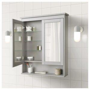 ХЕМНЭС Зеркальный шкаф с 2 дверцами, серый 83x16x98 см - Артикул: 604.412.08