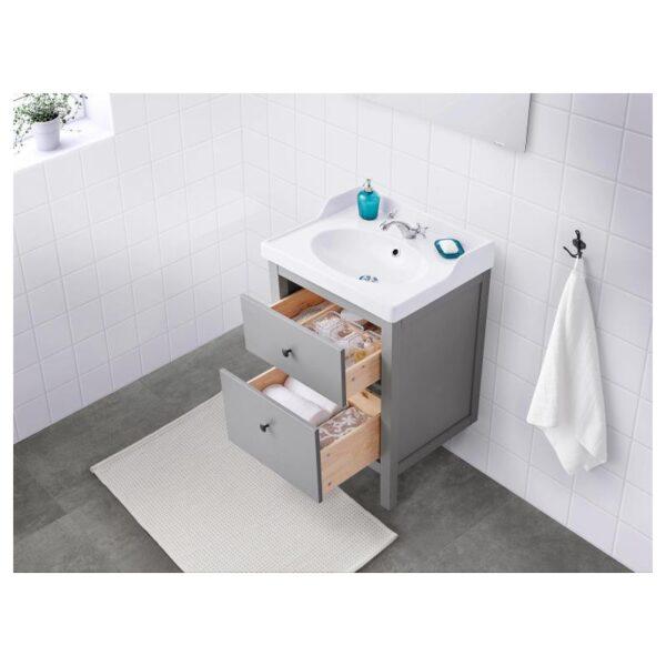 ХЕМНЭС Шкаф для раковины с 2 ящ, серый 60x47x83 см - Артикул: 004.412.11