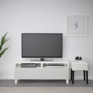 БЕСТО Тумба д/ТВ с ящиками белый/Лаппвикен светло-серый 120x40x48 см   Артикул: 892.442.74