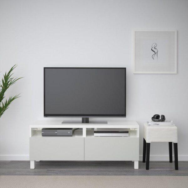 БЕСТО Тумба д/ТВ с ящиками белый/Лаппвикен светло-серый 120x40x48 см | Артикул: 892.442.74