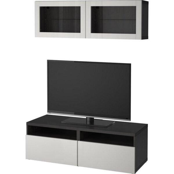 БЕСТО Шкаф для ТВ, комбин/стеклян дверцы черно-коричневый Лаппвикен/светло-серый прозрачное стекло 120x20/40x166 см | Артикул: 992.504.67