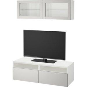БЕСТО Шкаф для ТВ, комбин/стеклян дверцы белый Лаппвикен/светло-серый прозрачное стекло 120x20/40x166 см | Артикул: 792.504.68
