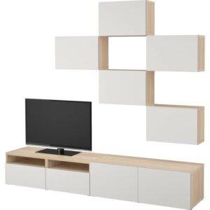БЕСТО Шкаф для ТВ, комбинация под беленый дуб/Лаппвикен светло-серый 240x20/40x204 см | Артикул: 992.514.19