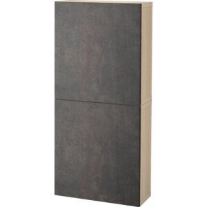 БЕСТО Навесной шкаф с 2 дверями под беленый дуб Кэлльвикен/темно-серый под бетон 60x20x128 см | Артикул: 392.762.91