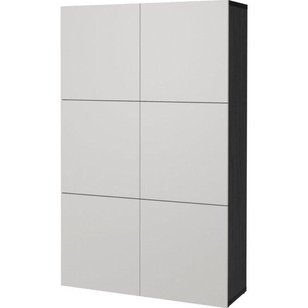 БЕСТО Комбинация для хранения с дверцами черно-коричневый/Лаппвикен светло-серый 120x40x192 см   Артикул: 892.471.40