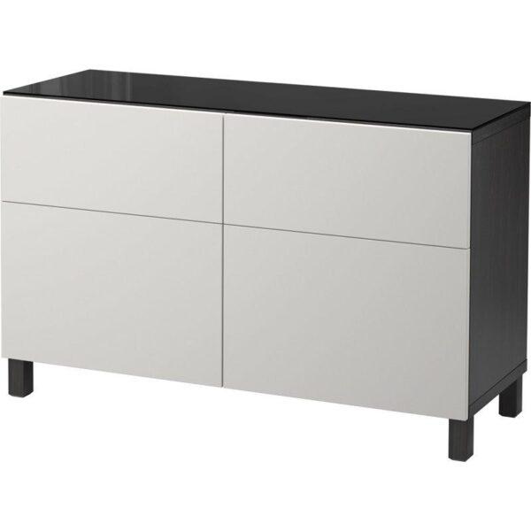 БЕСТО Комбинация для хранения с ящиками черно-коричневый/Лаппвикен светло-серый 120x40x74 см   Артикул: 392.452.52