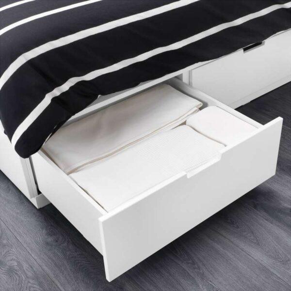 НОРДЛИ Каркас кровати с ящиками, белый 160x200 см. Артикул: 203.613.88