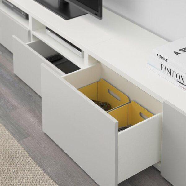 БЕСТО Шкаф для ТВ, комбинация белый/Лаппвикен светло-серый 240x20/40x204 см | Артикул: 092.514.14